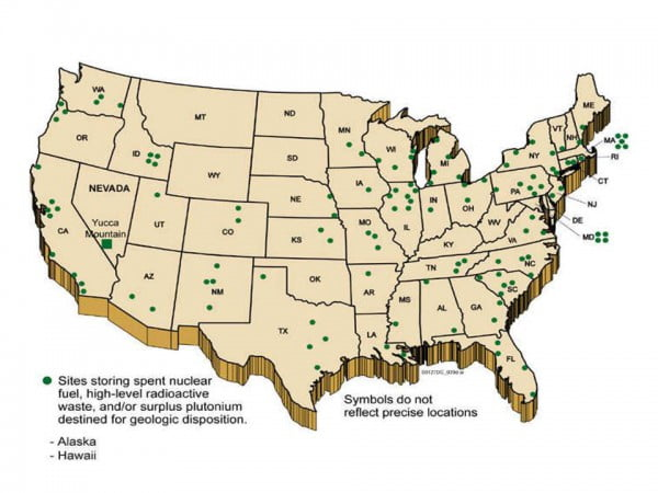 Nuclear waste storage sites map