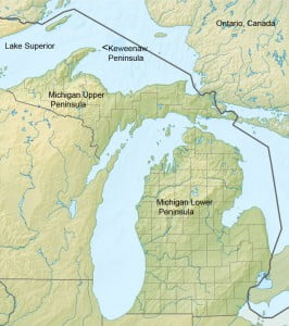 Relief map of Michigan Keweenaw Peninsula