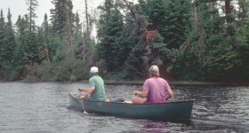 Thoreau Maine Canoe Trip 1995 cropped adj 200 dpi Ted Timreck canoe front Maine Thoreau film trip